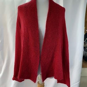 EILEEN FISHER-S Red Wool/Mohair Cardigan